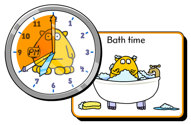 telling time bathtime