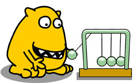 Busy Things yellow monster using a pendulum
