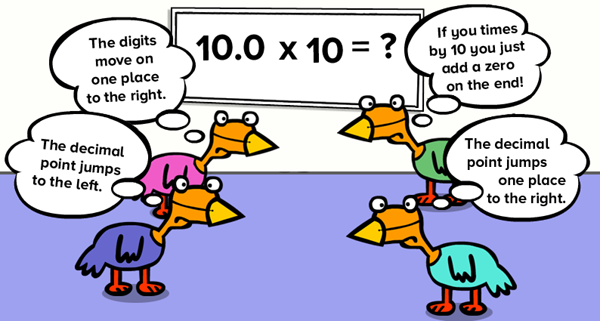 Chickens thinking about a maths problem in different ways