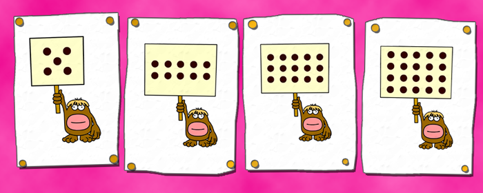 Busy Things classroom display of worksheets counting in fives