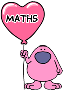 Busy Things Pink Man holding a love maths heart balloon