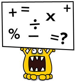 monster holding up a sign showing maths operators