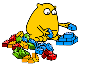 Busy Things Yellow monster playing with lego bricks