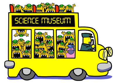 Busy Things monsters on a science school trip bus