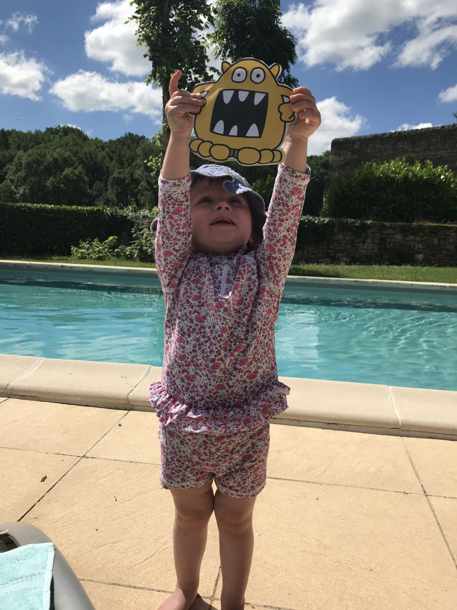 Monster about to take a dip in the pool with Alyssia in France