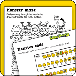 Busy Things kids activity pack - Monster Maze and Monster Code