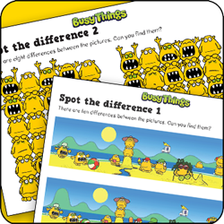 Busy Things kids activity pack - spot the difference