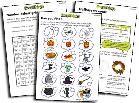 Halloween hunt, number grid and creepy crafts