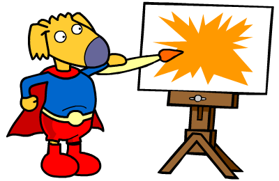 super hero painting a picture